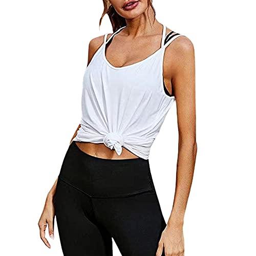 iSayhong Camisola de moda para mujer, sexy, sin mangas, con cuello en V, sin espalda, suelta, tirantes sueltos