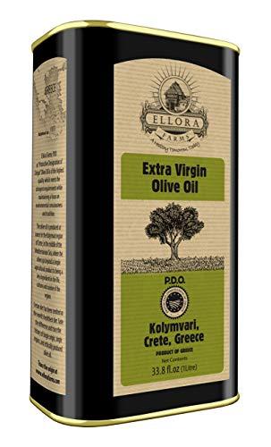 Ellora Farms, 2020 Gold Award Winner, Certified PDO Extra Virgin Olive Oil, Single Estate, Single Origin, Single Variety, Cold Press & Traceable Olive Oil, Born in Crete, Greece, Kosher, 1 Lt Tin (33.8 oz.)