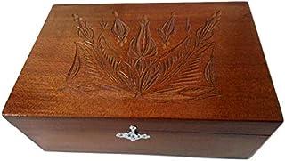 Nueva chocolate marron caja de almacenamiento de joya de madera tallada a mano de té café regalo