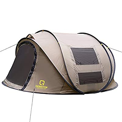 OT QOMOTOP Pop Up Tent, 4 Person 10-Second Instant Tent, Waterproof and Windproof Easy Set-up Tent, Perfect for Camping Beginners(Brown)