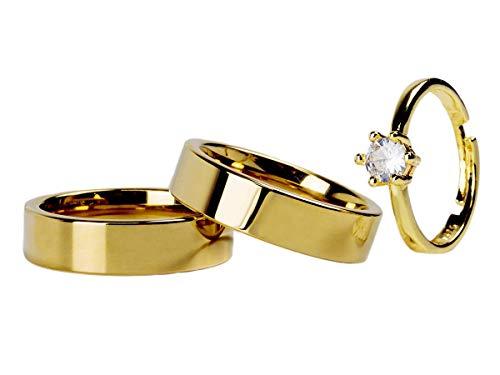 Par Aliança Reta 6mm + BRINDE Anel Solitário Gold Ajustável Banhados Ouro