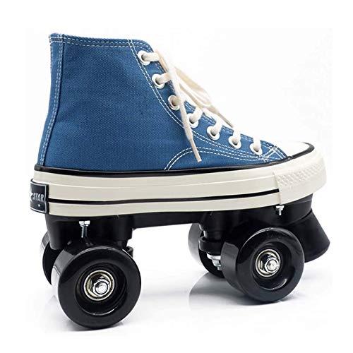 Pinkskattings@ Unisexe Skates Canvas Skaten Rollschuhe Mit 4 Rollen Skates Für Skaten, Laufen, Blau,43