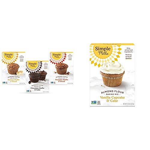 Simple Mills, Baking Mix Variety Pack, Banana Muffin & Bread, Chocolate Muffin & Cake, 3 Count & Almond Flour Baking Mix, Gluten Free Vanilla Cake Mix, Muffin pan ready