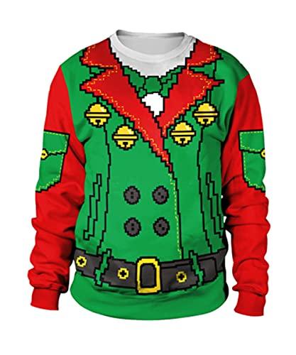 X-xyA Felpa Pullover Pullover Pullover a Maniche Lunghe di Natale Unisex,F,M