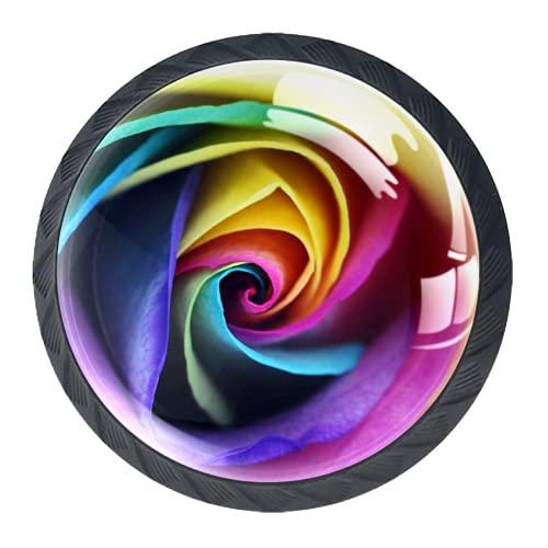 Manijas para cajones Perillas para gabinetes Perillas Redondas Paquete de 4 para armario, cajón, cómoda, cómoda, etc.. Arte de la flor del arco iris rosa