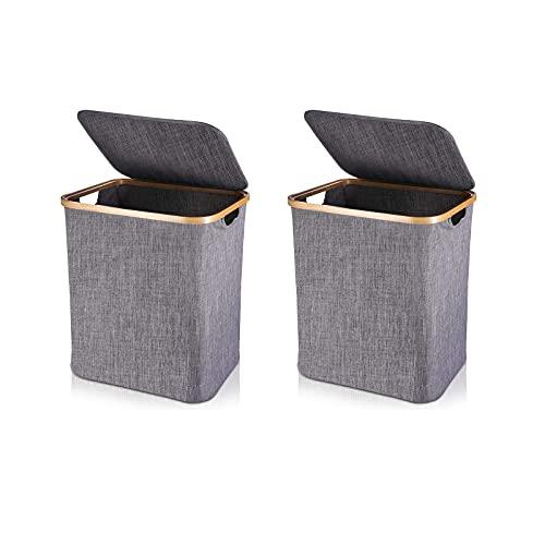 Parshall 2 cestas de almacenamiento para ropa sucia, cesta de almacenamiento plegable, cesta de juguete con tapa, cesta plegable para la colada, estilo 2