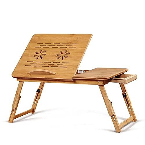 Pkfinrd - Tavolino da tavolo regolabile e pieghevole, portatile, con cassetto