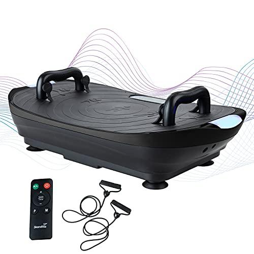 skandika Vibrationsplatte V2   Trainingsgriffe und Trainingsbänder, Oszillierende Vibration, Curved Design, leiser Motor, 99 Stufen, LCD-Bildschirm   Multi-Gym Sportgerät für Zuhause (schwarz)