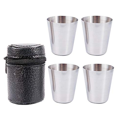 MAODIAN 4Pcs/Set 30ML Polished with Leather Cover Bag for Home Kitchen Bar Drinking Barware Shot Cup Alcohol Bottle Wine Cup