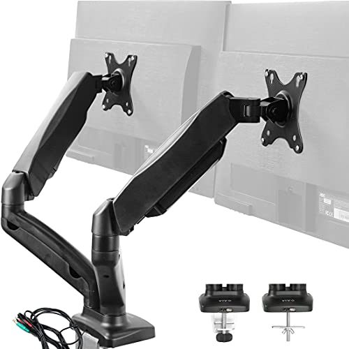 speakers with nfcs VIVO Dual Monitor Height Adjustable Counterbalance Pneumatic Desk Mount Stand with USB and Audio Ports, VESA Bracket Arm Fits Most Screens up to 27 inches STAND-V002OU