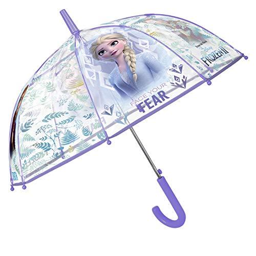 Paraguas Transparente Frozen 2 Niña - Paraguas Infantil Disney con Forma de Cúpula Estampado la Princesa Elsa - Apertura Automática - Pequeñas 4/6 Años - 74 cm Diámetro - Perletti Kids
