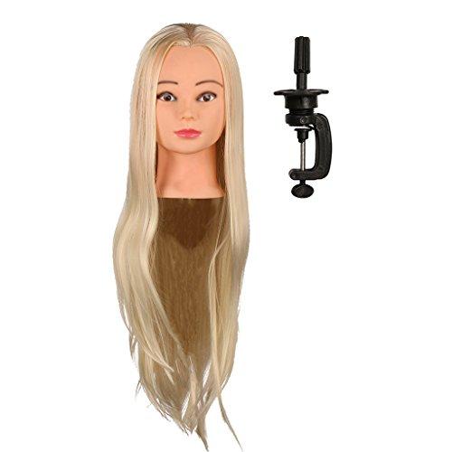 IPOTCH Tête d'apprentissage Tête à Coiffer Tête d'exercice Mannequin Head 100% Vrais Cheveux avec Titulaire - Couleur de peau, 26
