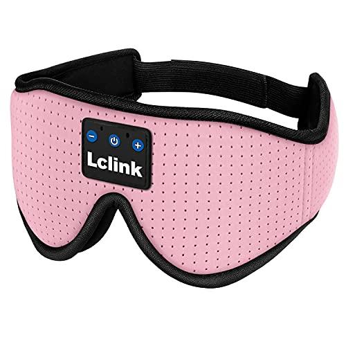 Máscara de ojos Bluetooth, máscara de dormir 3D contorneada para los ojos vendados, auriculares deportivos inalámbricos 5.0, con altavoces estéreo ultrafinos ajustables (color: rosa)