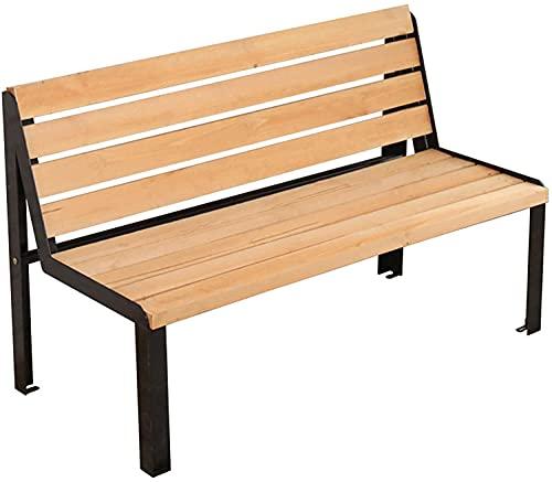 Banco de jardín para exteriores, muebles de porche delantero, silla de parque de madera maciza para exteriores, banco de jardín con respaldo doble de pie de silla de hierro forjado, muebles retro