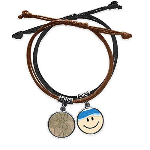 Bestchong Armband aus Papier, schmutzig, gefaltet, strukturiert, geriffelt, Handkette, Leder, lächelndes Gesicht