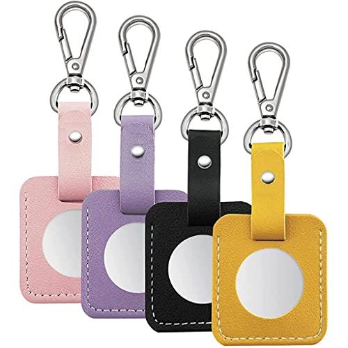 HUYHUJ PU Funda de cuero 4 Paquete, estuche protector con llavero para Airtag Fácil adjuntar a llaves, mochilas (Color : A, Size : One size)
