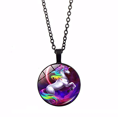 Schimer Boutique Unicorn Rainbow Locket Pendant Necklace Glass Cabochon Fashion Jewelry Necklace