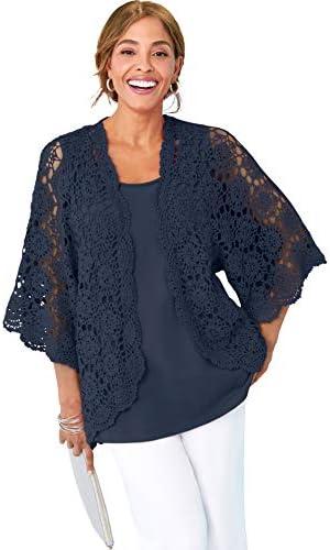 Jessica London Women s Plus Size Crochet Cardigan Sweater 18 20 Navy product image