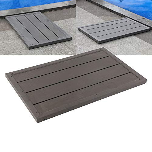 Bodenelement für Solardusche dunkelgraue Holzoptik rutschhemmend WPC Außendusche Pooldusche Garten