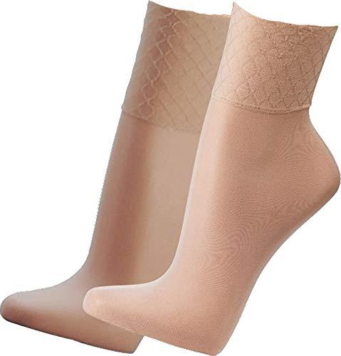 socksPur SOCKS PUR Wellness-Feinsöckchen Spezial-Komfortb& - ohne Gummidruck, mit Glanzeffekt, 33dtex = 30den (one size: Passend für alle Größen, make up 5er Bündel)
