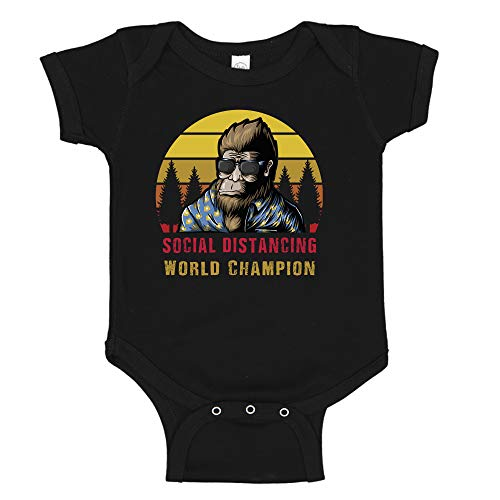 Ink Trendz Bigfoot Social Distancing World Champion Pandemic Funny Baby Infant to Toddler one-Piece Bodysuit Romper (18 Months, Black)