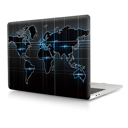 HRH Technology World Map Laptop Body Shell Protective PC Hard Case for MacBook New Pro 15 Case 2018 2017 2016 Release A1990A1707 with Touch Bar