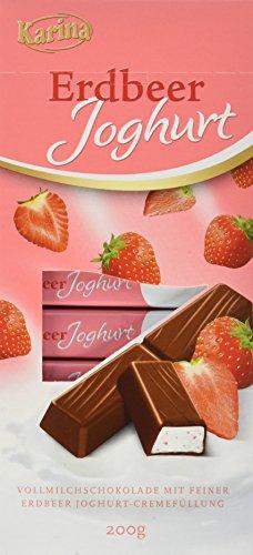 Karina Vollmilchschokolade mit feiner Erdbeer Joghurt-Cremefüllung, 10er Pack (10 x 200 g)