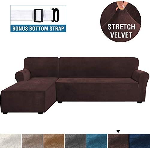 Best Rich Velvet Stretch 2 Pieces L-Shaped Sofa Covers Anti-Slip Sectional Sofa Slipcovers with Straps Bo