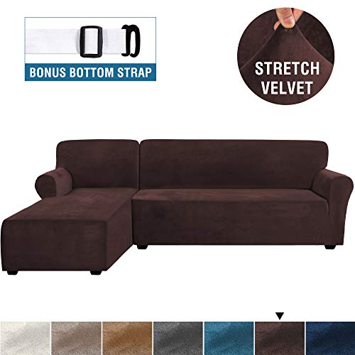 Rich Velvet Stretch 2 Pieces L-Shaped Sofa Covers Anti-Slip Sectional Sofa Slipcovers with Straps Bottom Luxury Thick Velvet Corner Sofa Cover(X-Large Size=Left Chaise with 3 Seater, Brown)