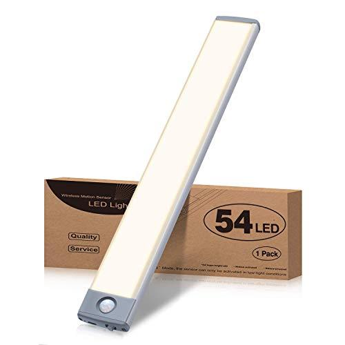 LED Sensor Licht Schrankleuchten, USB Wiederaufladbar Schranklicht mit Bewegungsmelder Lichtleiste für Schrank, 54 LED Intelligente Küchenleuchte, 3 Modi Nachtlicht Unterbauleuchte mit Magnetstreifen