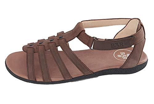 Bär Damen Schuhe Matanza Sandalen Sandalette schwarz braun Leder (41, Braun)