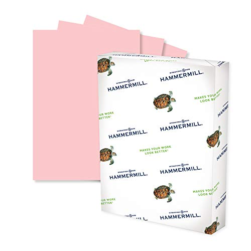 Hammermill Colored Paper, 24 lb Pink Printer Paper, 8.5 x 11-1 Ream (500 Sheets) - Made in the USA, Pastel Paper, 104463R