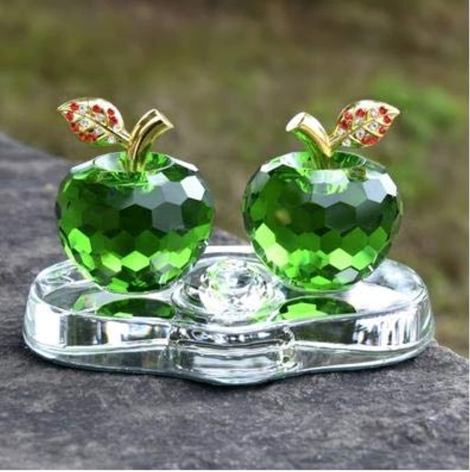 Zamtac Heart-Shaped Crystal Apple Crafts, Creative, Beautiful Desktop Decorations, can Also be Used as car Accessories - (color  E)