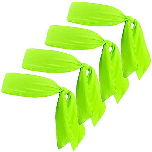 JHYWELL Neon Green Tennis Sweatband Headband, Tie Back Hair Band, Dry Fit Sweat Head Wraps for Men Women Kids Girls Boys, Athletic Headwraps, Pirates Headwrap for Tennis, Basketball, Running, Workout