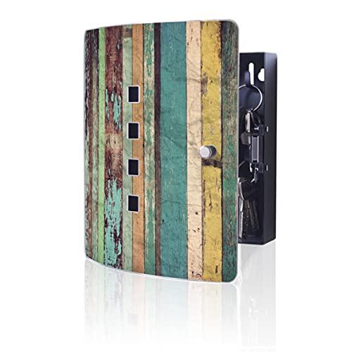 Burg-WÄCHTER 6204/10 Ni PM - Caja para llaves (10 ganchos, cierre magnético, madera multicolor, acero inoxidable), color madera