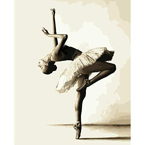 Chrissny Malen nach Zahlen Kits mit Pinseln und Acrylpigment DIY Leinwandmalerei für Erwachsene Anfänger-Balletttänzerin 40X50Cm