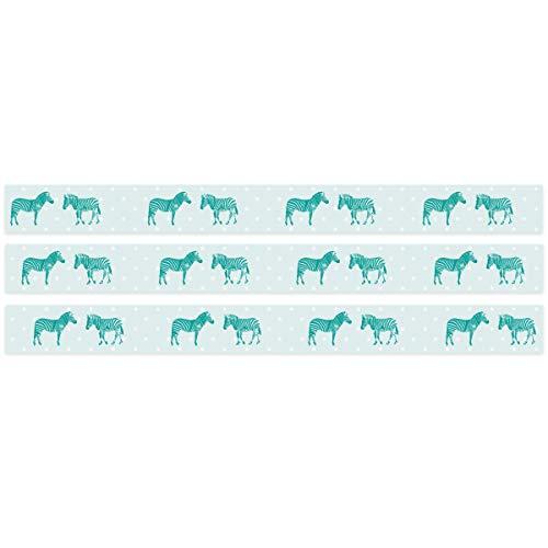 Wandkings Bordüre - Wähle ein Motiv - Zebra Türkis - 3x selbstklebende Wandbordüren je 150 cm - Gesamtlänge: 450 cm - Höhe: 12,5 cm