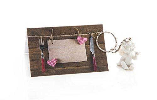 50 kleine mini-engelfiguren sleutelhangers + 50 tafelkaarten rood wit bruin geruit hart mes vork - cadeautje cadeau cadeau voor gasten, bruiloft, communie, Kerstmis, verjaardag, tafeldecoratie