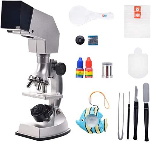 Regalos para niños Juego de microscopios para niños Microscopio de estudiante LED de National Geographic - Kit de ciencia Lente de vidrio óptico 10X-25X ¡Y más!(Plata) Regalos de juguetes educativos