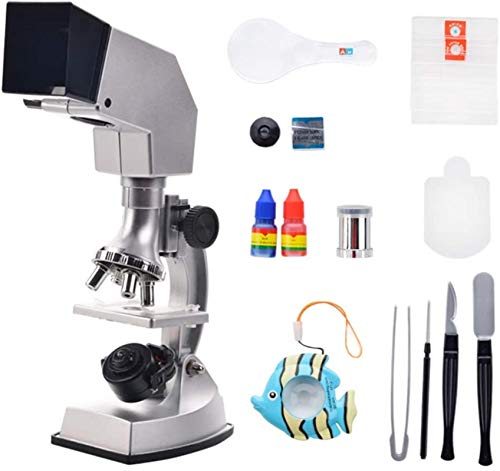 Gifts for Children Kids Microscope Set National Geographic Led Student Microscope - Science Kit 10X-25X Optical Glass Lens and More! (Silver) Education Toy Gifts