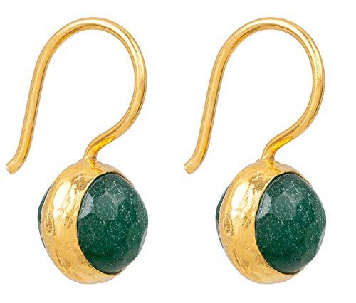 SARAH BOSMAN Damen Ohrringe Gold Globe Dark Green Jade - Ohrhänger mit Kugel Silber vergoldet eingefasster Grüner Jadestein - SAB-E04DGREJADg