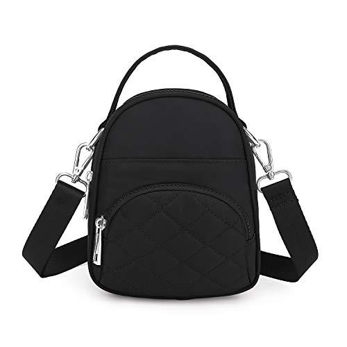 Wind Took Damen Umhängetasche Klein Mini Bag Sling Tasche Handtasche Citytasche Schultertasche Mode Damentaschen 14x17.5x6.5 cm, A - Black, S