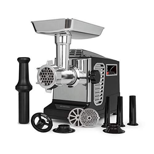 Klarstein Kraftprotz Picadora - Picadora de carne eléctrica, 700 W de potencia, 2 velocidades, Marcha atrás, Cuchilla de acero inoxidable, Gran bandejade aluminio, Set de accesorios, Negro