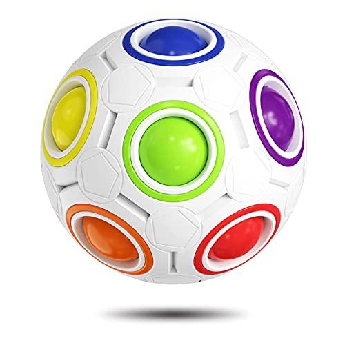 ROXENDA Rainbow Ball Magic Ball, Juego de Habilidad Bola de Rompecabezas - Cerebro Teaser y Bola de Estrés para Niños y Adultos (Blanco)