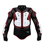 Reomoto Motorcycle Full Body Armor Jacket Spine Chest Protector Motocross Protective Jacket for Off-Road Racing Dirt Bike Skiing Skating(White, L)