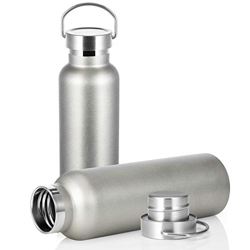 SMLIXE 20oz Vacuum Insulated Stainless Steel Sports Water Bottle Leak-Proof Metal Sports Flask Wide Mouth Double Wall Thermoses (ColdGrey, 2Pack)