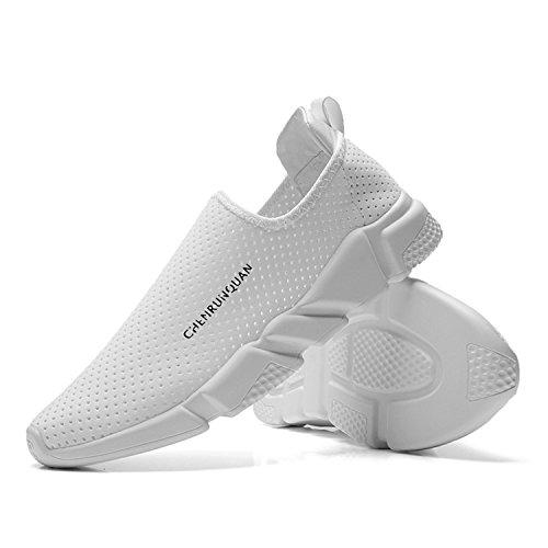 [Bornran] モカシン スニーカー おしゃれ レディーズ 人気 メンズ スリッポン 運動靴 安全靴 ランニングシューズ ウオーキングシューズ 厚底 安全靴 メッシュ ホワイト 24.5cm