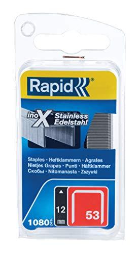 Rapid Tackerklammern Edelstahl Typ 53, 12mm Klammern V2A, 1.080 Stk., Feindrahtklammern für Holz und Stoffe