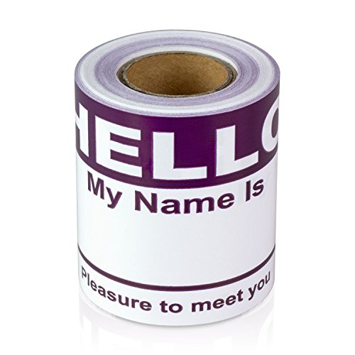 """Hello My Name is Stickers Labels Nametags Visitor Sticker Badges Write on Adhesive Color Simple Basic Blank [Purple] -2-5/16"""" x 4"""" Inch 100 Stickers Labels per Roll"""