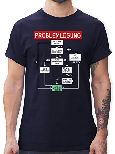 Sprüche - Problemlösung - XXL - Navy Blau - Tshirt mit sprüchen für Mann - L190 - Tshirt Herren und Männer T-Shirts